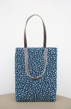 Hand Made Bag / Jacquard Fabric, Cotton Fabric and Leather Handle / Design Teresa Georgallis