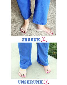 "How to ""Unshrink"" Your Clothes!---totally amazed!! I have so many pants that have shrunk, so it's worth a try!"