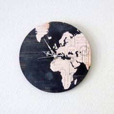 Unique Wall Clock, Home and Living, Map Clock, Black Decor, Decor Cool Clocks, Unique Wall Clocks, Diy Clock, Wooden Clock, We Are The World, Reno, Black Decor, Map Art, My New Room