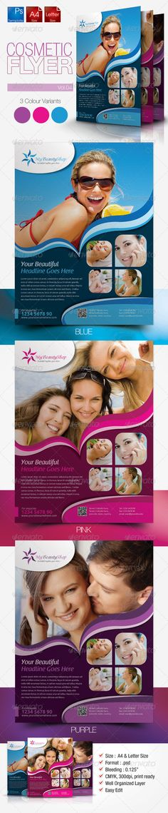 """Cosmetic Flyer Vol.4 #GraphicRiver These flyers template come with 3 psd files. Its very easy to edit. The flyers perfectly used for healthcare, beauty, women & lady products. Its also perfectly for the company needs a clean and simple layout flyer for their product. Colour : CMYK Files : .psd Size : 8.5"""" x 11""""(Letter) & 210mmx297mm(A4) / 300dpi bleeding : 0.125"""" Fully layered Smart object layer to edit images images used are not included. help.txt included for fonts and images used details…"""