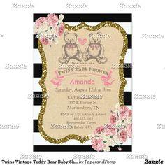Twins Vintage Teddy Bear Baby Shower Invitation