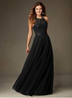 Vestidos princesa/ Formato A Decote redondo Longos Tule Vestido de madrinha com Missangas Lantejoulas