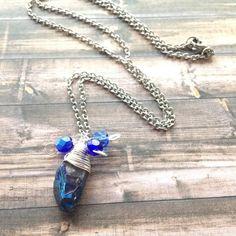 Titanium Blue Quartz Crystal Necklace Blue Crystal Quartz Pendant Necklace Blue Quartz Point Crystal Necklace Blue Crystal Necklace by JulemiJewelry on Etsy