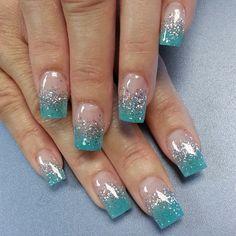 Fantastic nail designs with glitter nail polish- Fantastische Nageldesigns mit Glitzer Nagellack Nail polish glitter blue french manicure - Teal Nails, Fancy Nails, Cute Nails, Pretty Nails, Tiffany Blue Nails, Fancy Nail Art, Glitter Nail Polish, Acrylic Nails, Glitter Art