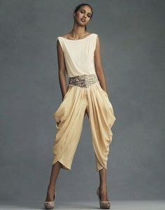 Solarpunk sandy neutral jewel belted draped ruched gaucho pants