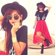So cute! Red high to low skirt and skeletal hand shirt.