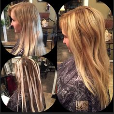 Sun kissed balayage before processing and after