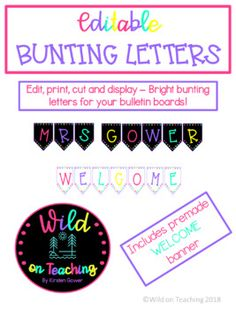 Cute, colorful letters for your bulletin boards. Includes a pre-made WELCOME bunting.Just print, cut and display. Its that easy! #teacher #classroomdecor #teacherspayteachers #bunting #printables #welcomesign #alphabetletters #bulletinboards