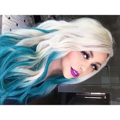 Turquoise hair ombre, white ombre hair, aqua hair, pastel hair, white b Turquoise Hair Ombre, White Ombre Hair, Ombre Hair Color, Blue Ombre, Cool Hair Color, Hair Colors, White Blonde, Blonde Hair Blue Tips, Blue Hair Balayage