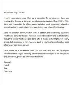 Personal letter of recommendation template microsoft word 2011 employment recommendation letter for previous employee reference throughout sample letters of recommendation employee thecheapjerseys Image collections