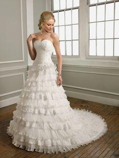 Bem Formato A Coração Renda Pregueado Cauda longa Organza Vestido de Noiva