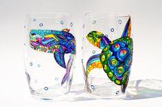 Beach Theme Wedding Wine Glasses Whale Drinking от Vitraaze