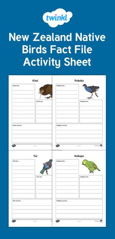 Native birds of New Zealand Fact File Activity Sheet