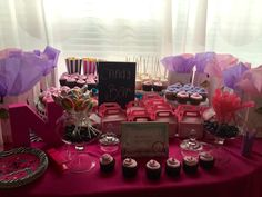 Spa Party Treat Table with favor bags, cupcakes, popcorn filled boxes, jumbo marshmallow pops, DIY favor boxes, rock candy with gum balls at bottom! Huge hit for the girls!