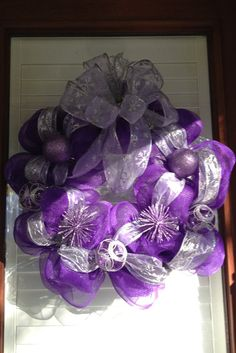 Christmas Wreath - Purple & Silver -Purple Christmas Wreath on Etsy, $65.00 Purple Christmas Tree, Silver Christmas, Christmas Items, All Things Christmas, Victorian Christmas, Deco Mesh Wreaths, Holiday Wreaths, Holiday Crafts, Holiday Decor