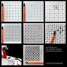 Zentangle drawn by Vasilisinamari Zentangle Drawings, Doodles Zentangles, Doodle Drawings, Doodle Art, Tangle Doodle, Tangle Art, Doodle Patterns, Zentangle Patterns, Art Patterns