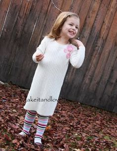 adult sweater to child's sweater dress tutorial, plus links to other kids clothes sewing projects