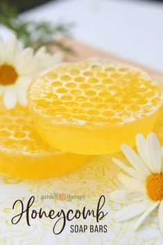 A Sweet Homemade Honeycomb Soap Recipe. While the soap looks like a sticky block of honey straight from the honeycomb its actually an aloe cucumber and carrot soap that Ive mixed with manuka honey and scented with citrus. The trick to this attractive Homemade Scrub, Homemade Soap Recipes, Homemade Gifts, Carrot Soap, Beauty Hacks For Teens, Natural Beauty Recipes, Honey Soap, Natural Exfoliant, Wellness