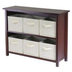 Winsome 2 Shelf Verona Storage with 6 Baskets - Walnut/Beige $144.99 Target