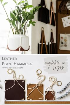 Leather Diy Crafts, Leather Craft, Pinners Conference, Antique Booth Ideas, Craft Booth Displays, Leather Wall, Macrame Plant Hangers, Plant Nursery, Plant Holders