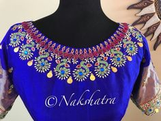 Beautiful royal blue and green color floor length anarkali dress with peacock design hand embroidery kndan and bead work on neckline and sleeves. Pattu Saree Blouse Designs, Blouse Designs Silk, Bridal Blouse Designs, Blouse Patterns, Kids Blouse Designs, Simple Blouse Designs, Maggam Work Designs, Work Blouse, Hand Embroidery