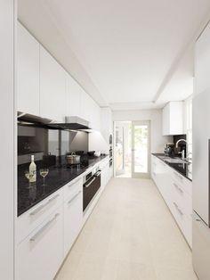 Image result for mirror glass kitchen splashback in closed narrow galley kitchen