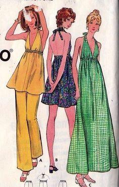 2 McCalls Butterick 1970s Sewing Patterns Ladies Dress Halter Top Pants Size 10…
