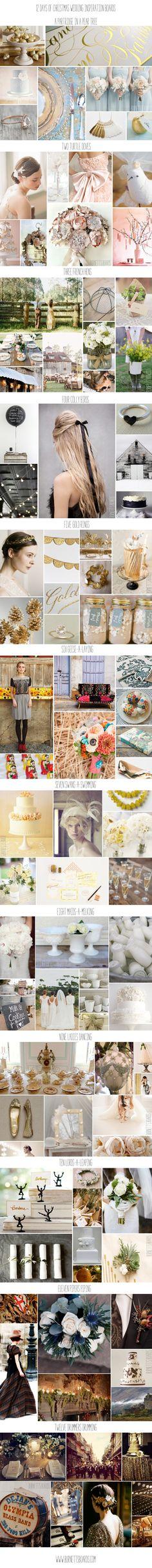 12 Days of Christmas wedding inspiration boards