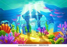 Creative Illustration and Innovative Art: Temple Ruins Under the Sea. Realistic Fantastic Cartoon Style Artwork Scene, Wallpaper, Story Background, Card Design  - stock photo