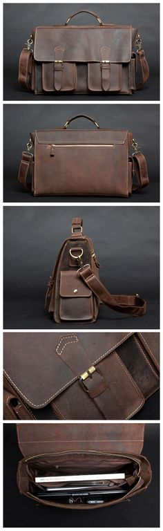 Vintage Style Genuine Leather Mens Briefcase Messenger Laptop Bag Shoulder Bag Handmade Handbags & Accessories - http://amzn.to/2ij5DXx