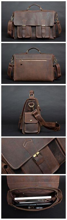 Vintage Style Genuine Leather Mens Briefcase Messenger Laptop Bag Shoulder Bag Handmade Handbags & Accessories - http://amzn.to/2ij5DXx