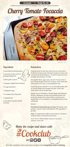 #CookClub recipe No. 20: Cherry Tomato Focaccia