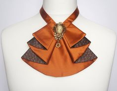 Orange women jabot,Orange extravagant jabot,Cameo Brooch,Orange style suit by MokushArt on Etsy African Accessories, Neck Accessories, African Jewelry, Women's Neck Ties, Women Bow Tie, Tie Crafts, Tie Dye Outfits, Latest African Fashion Dresses, Stephane Rolland