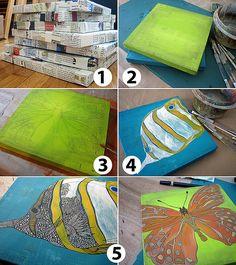 Great idea...potential canvas substitute--use pizza boxes, paper mâché and paint!