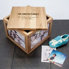 A beautiful solid oak personalised family keepsake box. Personalise with a surname of your choice. The words 'The' and 'Family' along with the phrase 'The best thing about memories are making them' are standard. Christmas Gifts For Husband, Best Christmas Gifts, Gifts For Father, Fathers, Personalized Mother's Day Gifts, Personalised Box, Photo Memories, Family Memories, Family Photo Frames