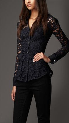 d80c91dfe91 BURBERRY - Fitted Lace Shirt Black Lace Blouse