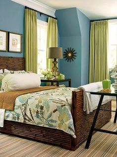 blue bedroom: a pretty blue and green bedroom.