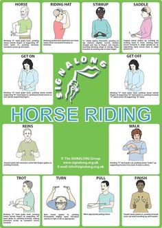 Horse Riding Poster, J) Posters, Signalong Store Sign Language Chart, Sign Language For Kids, Sign Language Phrases, Sign Language Alphabet, Sign Language Interpreter, British Sign Language, Learn Sign Language, Foreign Language, Horse Riding Hats