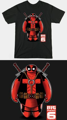 Baymax Deadpool T Shirt | Big Deadmax 6. Great mashup design for fans of Marvel Comics and Big Hero 6. | Visit http://shirtminion.com/2015/06/baymax-deadpool-t-shirt/