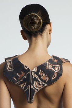 Galerie-Marzee-GraduateShow2014-  Efrat Seeligman - Bezalel Academy of Arts and Design, Jerusalem, Israel Fox , 2014, necklace, veneer, cowhide, vegetable tan leather, 540 x 570 x 25 mm