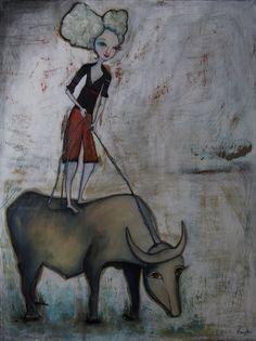 """Closer To The Sky"", oil on birch panel, x Contemporary Paintings, Moose Art, Original Paintings, My Arts, Sky, Gallery, Birch, Closer, Animals"