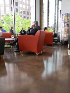 Polished Concrete Floor in downtown Boston Cafeteria Downtown Boston, In Boston, News Cafe, Polished Concrete, Home Reno, Concrete Floors, Flooring, Hardwood Floor
