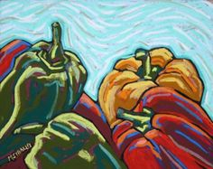 Daily Painters Just Add Onions green red yellow bell peppers, painting by artist Monique Straub, PSA