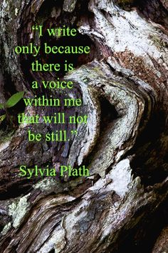 """I write only because there is a voice within me that will not be still.""  -- Poet Sylvia Plath"