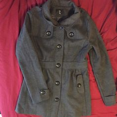 Gray pea coat Gently used pea coat, size is a kids large, or an adult Xsmall. Pairs great with scarves and boots. $30 OBO Jackets & Coats Pea Coats
