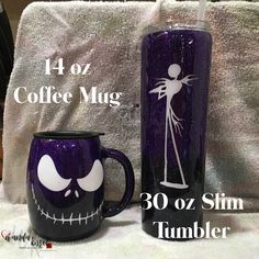 "These ""Nightmare Before Coffee and Caffeine"" tumbler and mug are available now! They will soon be posted on my Etsy site. The mug has ""I'm a Nightmare Before Coffee"" on the back, and the tumbler has ""I'm a Nightmare Before Caffeine ""."