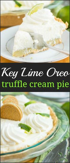It's here! Key Lime Oreo Truffle Cream Pie. A no-bake pie that starts with a graham cracker crust filled with a layer of rich Key Lime Oreo truffle filling and a layer of tangy white chocolatey mousse filling! via @ohsweetbasil