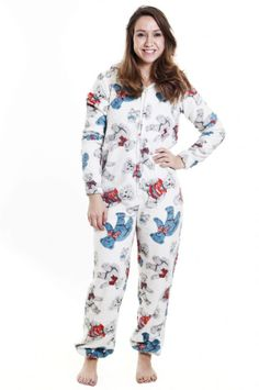 adc91cce11 Super cute women s onesie Womens Teddy Bear Print Onesie with cute ears on  the hood A supersoft fleece all in one suit for sleeping camping relaxing