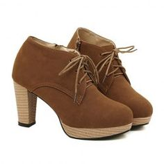 $20.06 British Style Suede Women's Ankle Boots With Lace-Up and Chunky Heel Design