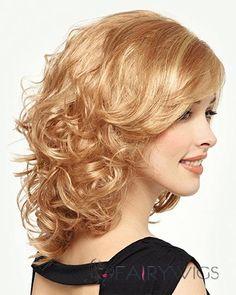 Graceful Capless Medium Wavy Blonde Remy Hair Wig